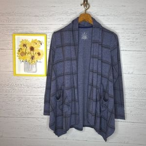 Cuddl Duds Blue Open Front Cardigan